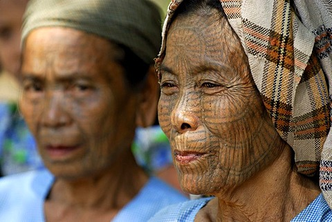 Tattooed women, so called spider women, Mrauk-U, Burma, also called Myanmar, Southeast Asia