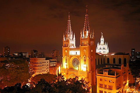 New Gothic cathedral, built in 1948, with lead crystal windows, night exposure, Guayaquil, Ecuador, South America