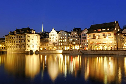 Banks of Limmat with Guildhall Zum Rueden and Zuerich City Hall by night, Switzerland, Europe