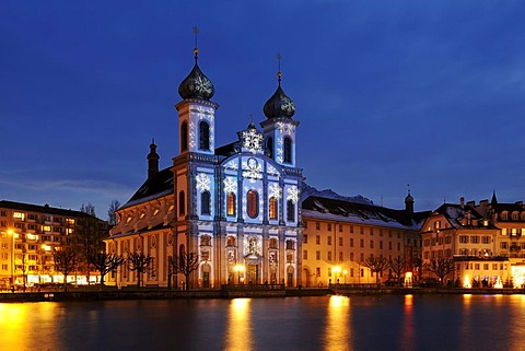 Jesuit Church illuminated by light artist Gerry Hofstetter with Christmas light, Lucerne, Switzerland, Europe