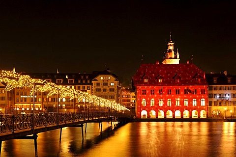 Lucerne Town Hall illuminated by light artist Gerry Hofstetter with Christmas light, Lucerne, Switzerland, Europe