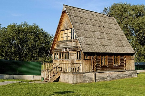 Old wooden school building in Kolomenskoye village near Moscow, Russia
