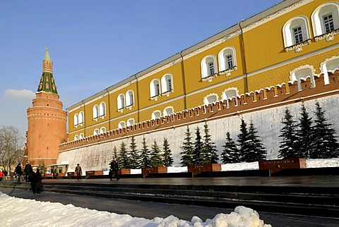 View of the Kremlin wall from the side of the Alexander Garden, Moscow, Russia