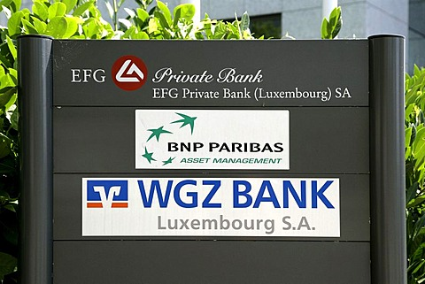 Head office of the WGZ Bank, BNP Paribas, EFG Private Bank in Luxembourg, Europe
