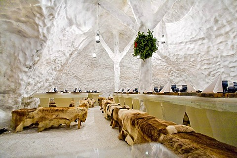 Inner view of an igloo restaurant, Rovaniemi, Lapland, Finland, Europe