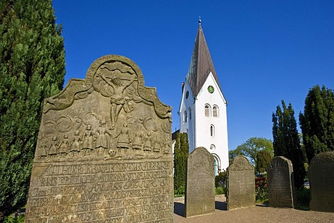 Tombstone, cemetery of the St. Clemens Church, Nebel, Amrum, North Frisia, Schleswig-Holstein, Germany, Europe