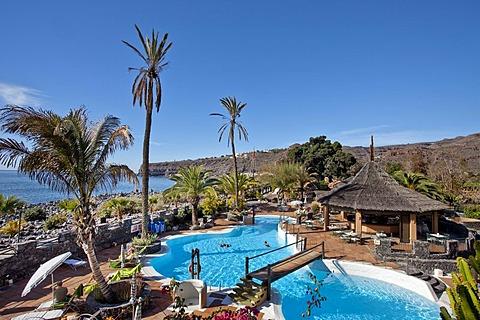 Swimming pool, Jardin Tecina Hotel, Playa Santiago, La Gomera, Canary Islands, Spain, Europe