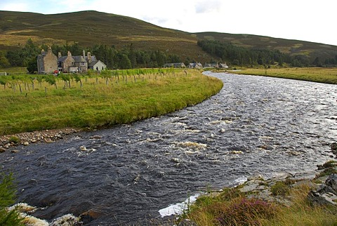 River Dee near Cock Bridge, Grampians, Highlands, Scotland, Great Britain, Europe