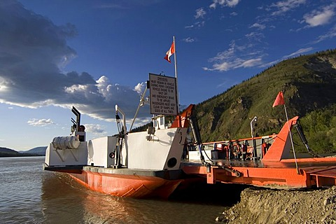 Public auto ferry across the Yukon River, Dawson City, Yukon Territory, Canada, North America