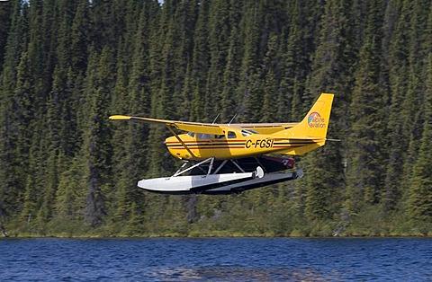 Landing float plane, bush plane, Cessna 206, Caribou Lakes, Liard River, British Columbia, Yukon Territory, Canada, North America