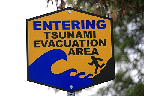 Tsunami area sign, Big Island, Hawai'i, Hawaii, USA