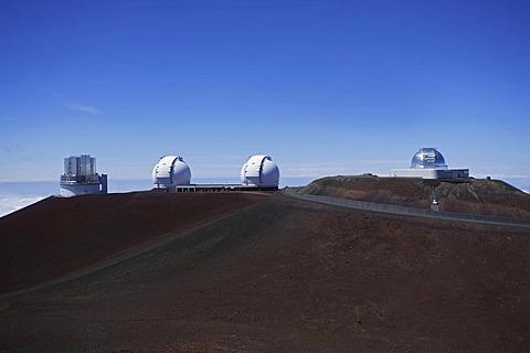 Astronomical observatories near the summit of the extinct volcano Mauna Kea, Hawaii, USA