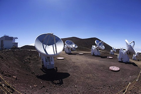 Submillimeter Array, SMA, consisting of eight radio telescopes at a height of 4080m near the summit of the extinct volcano Mauna Kea, Hawaii, USA