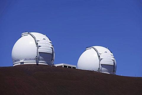 Domes of the two Keck telescopes near the summit of the extinct volcano Mauna Kea, Hawaii, USA