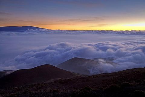 Sunset on Mauna Kea Volcano on Big Island, Hawaii, USA
