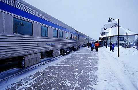 Train entrance in Churchill railway station, Hudson Bay, Canada, North America