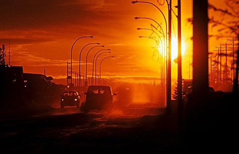 Sunset in Churchill, Hudson Bay, Canada, North America
