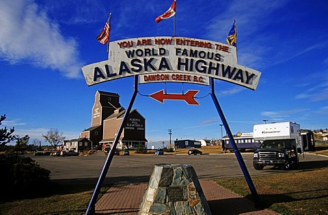 The beginning or Mile 0 of the Alaska Highway, Dawson Creek, Canada, North America