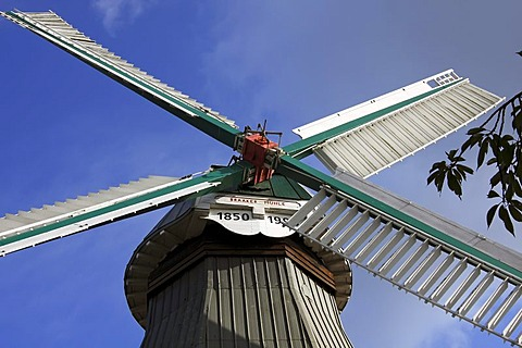 Braaker mill, historic windmill with shutter style sails, two-storey dutch style windmill, Braak, Stormarn administrative area, Schleswig-Holstein, Germany, Europe