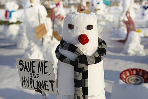 Demonstration of snowmen against climate change on the Schlossplatz in Berlin, Germany, Europe