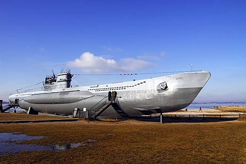 Museums ship, U-995 submarine at a beach near Kiel in Baltic Sea seaside resort town of Laboe, Schleswig-Holstein, Germany, Europe