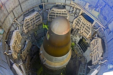 A Titan II missile in its underground silo at the Titan Missile Museum, Sahuarita, Arizona, USA