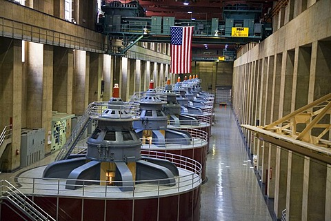 The turbines which produce electricity at Hoover Dam, Boulder City, Nevada, USA