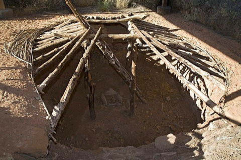 A pit house, part of an excavated ancient Anasazi village at the Anasazi State Park Museum, the site dates to the 12th century, Boulder, Utah, USA