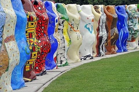 United Buddy Bears, parade of bears, Schlossplatz Square, Stuttgart, Baden-Wuettemberg, Germany, Europe