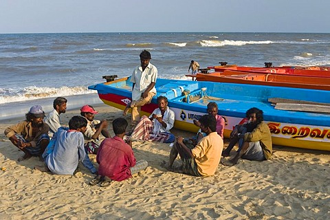 Fishermen on Marina Beach, Chennai, Madras, India, South Asia