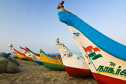 Fishing boats on Marina Beach, Chennai, Madras, India, South Asia