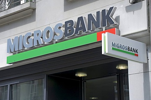 Migros Bank, signage, Berne, Switzerland, Europe