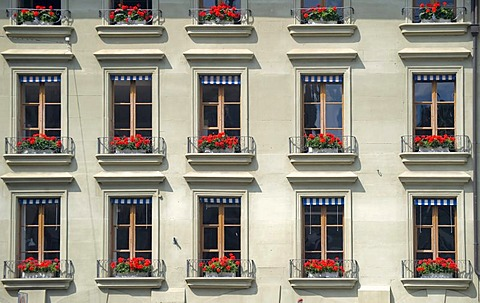 Apartment building with flower boxes, Berne, Switzerland, Europe