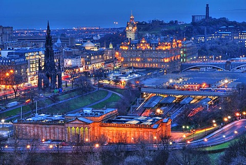 View of Edinburgh at night, Scotland