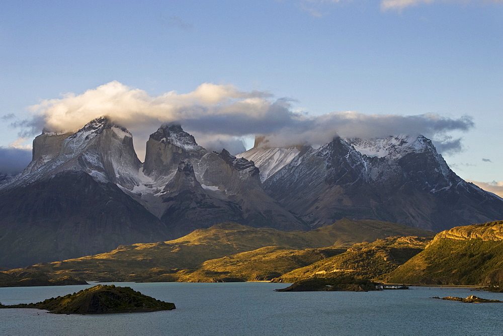 Torres del Paine mountains at the lake Lago Pehoe, National Park Torres del Paine, Patagonia, Chile, South America
