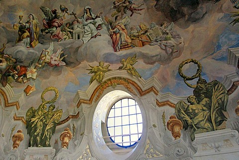 Church, Indoor Photo, Fresco in upper Cupola, Barock (Austria, Vienna)