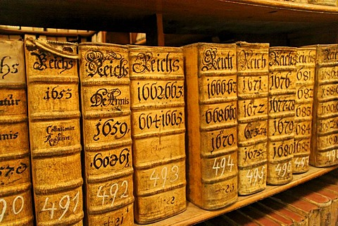 Hofkammerarchiv, many old Books, Vienna, Austria