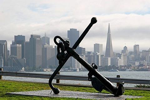 View from treasure island towards the skyline of San Francisco, California, USA
