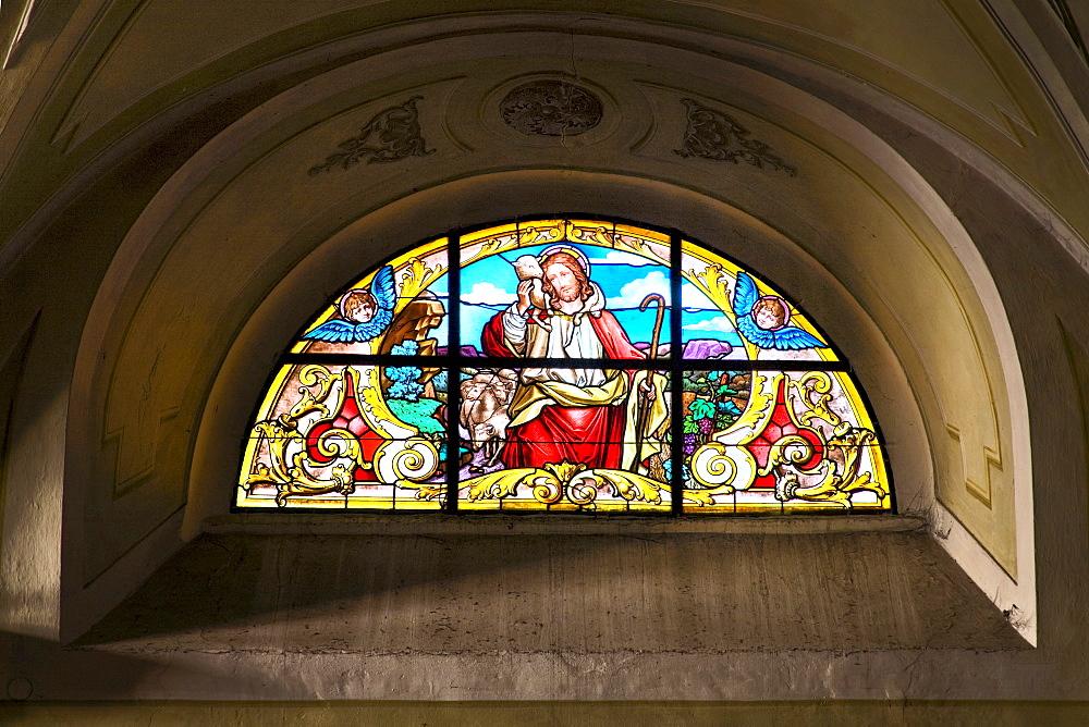 Stained-glass window, St. Veit Church in Krems, Wachau, Waldviertel, Lower Austria, Austria, Europe