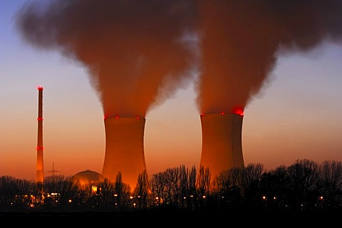 Nuklear power station in the evening, Grafenrheinfeld, Unterfranken, Bavaria, Germany