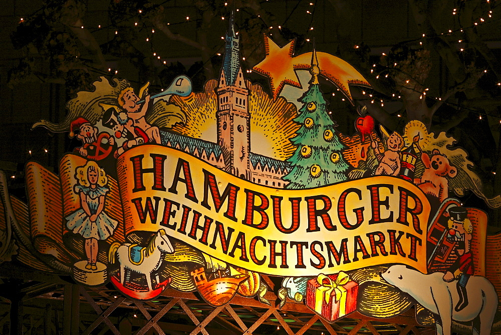 Christmas market in front of city hall, Hamburg, Germany, Europe