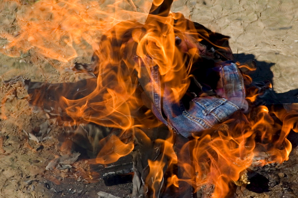 Burning jeans