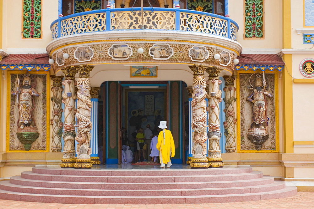 Entrance to the main temple of the Cao Dai sect, Tay Ninh, Vietnam, Asia