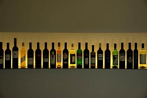 Wine bottles illuminated in a line Weinkulturhaus Gols Burgenland Austria