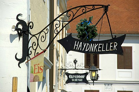 Iron made sign to the restaurant Haydnkeller Rust at Neusiedler See Burgenland Austria