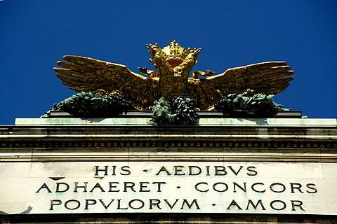 Double headed eagle with latin script on the Hofburg Neue Burg Vienna Austria