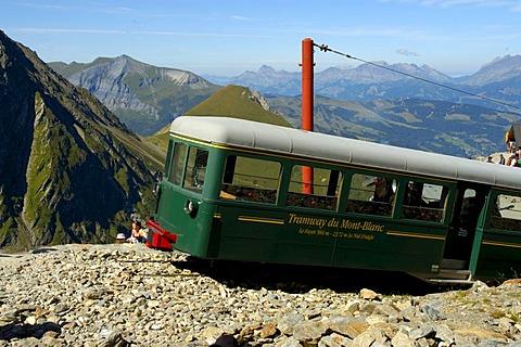 Final station Le Nid d'Aigle of Tramway du Mont Blanc with train Haute-Savoie France