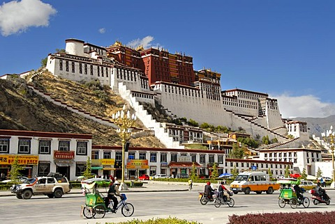 Traffic in front of Potala Palace Lhasa Tibet China