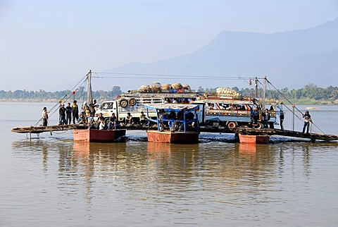 Adventurous ferry for cars across the Mekong River Champasak Laos