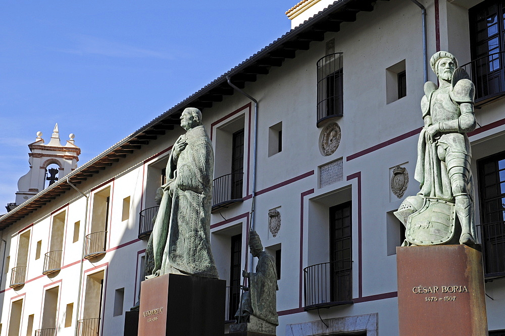 Statues of the Borgia or Borja noble family (House of Borgia), Gandia, Costa Blanca, Valencia Province, Spain